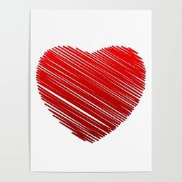 Scribbled red valentine heart- be my valentine Poster