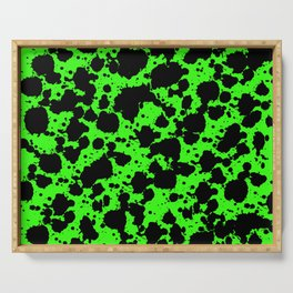 Bright Green and Black Leopard Style Paint Splash Funny Pattern Serving Tray