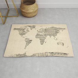 Old Sheet Music World Map Rug