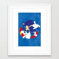 sonic Framed Art Prints featuring Sonic by JHTY