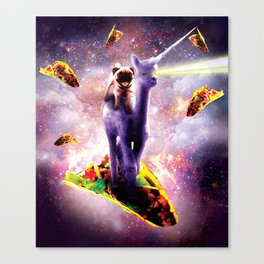 Cosmic Pug Riding Alpaca Unicorn Canvas Print