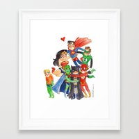 justice league Framed Art Prints featuring Justice League Hug! by Super Group Hugs