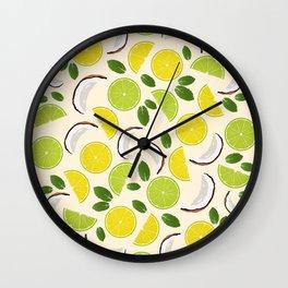 Lime Lemon Coconut Mint pattern Wall Clock