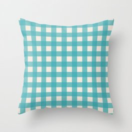Buffalo Checked Plaid in Turquoise and Cream Throw Pillow