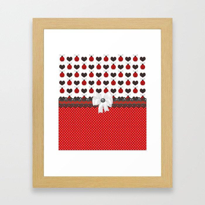 Ladybug and Hearts Framed Art Print