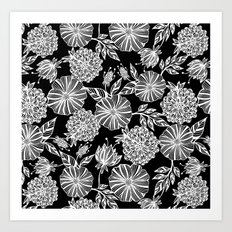 Romantic black garden Art Print