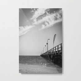 Jetty in Black and White Metal Print