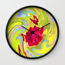 Cool Red Rose Abstract Art 096 Wall Clock