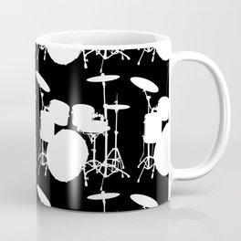 Drumset Pattern (White on Black) Coffee Mug