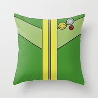 persona 4 Throw Pillows featuring Persona 4 Chie Satonaka Jacket by Bunny Frost