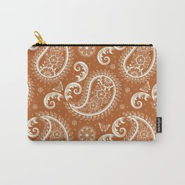 Paisley Pattern with Butterflies Rust Orange Carry-All Pouch