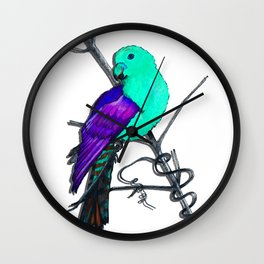 One King Parrot - teal Wall Clock