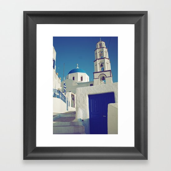 Santorini Churches I Framed Art Print
