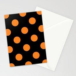 Halloween Orange Black Polka Dot Stationery Cards