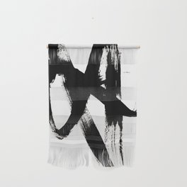 Brushstroke 2 - simple black and white Wall Hanging
