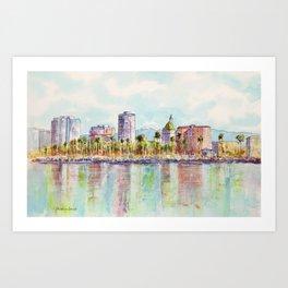 Long Beach Coastline Reflections Art Print
