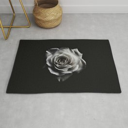 Rose Petal blossom black and white floral photograph / art photography Rug