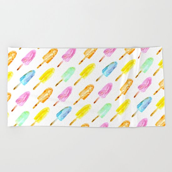 Watercolor popsicles Beach Towel