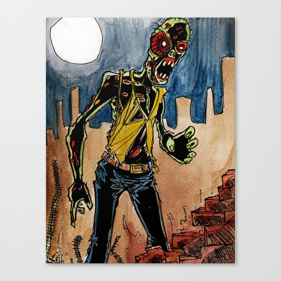 zombie in the ruins Canvas Print