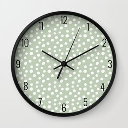 Light Olive Green & White Polka Dots Wall Clock