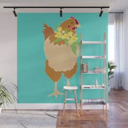Flower Power Spring Chicken Illustrated Print Wall Mural