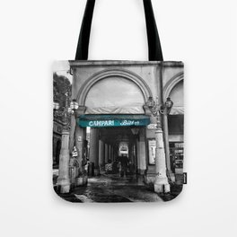 Black and White Bologna Street Photography Vector Green Tote Bag