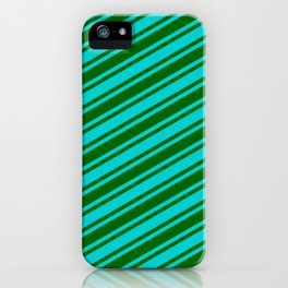 Dark Turquoise and Dark Green Colored Lined Pattern iPhone Case