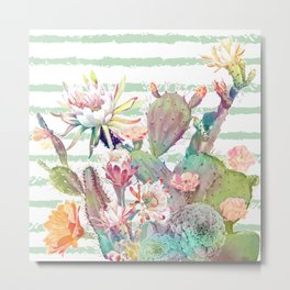 Watercolor cactus, floral and stripes design Metal Print