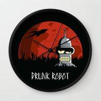 drunk Wall Clocks featuring Drunk Robot by Moysche Designs