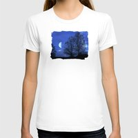 kindle T-shirts featuring Moon between Trees  - JUSTART © by JUSTART