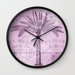Pink Vintage Palm Tree And Travel Typography Art Wall Clock