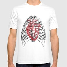 Heart Bones MEDIUM Mens Fitted Tee White