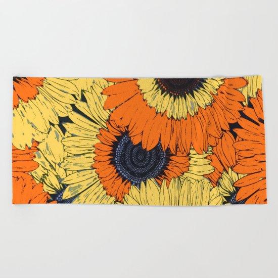 Abstracted Orange Yellow Deco Sunflowers Beach Towel