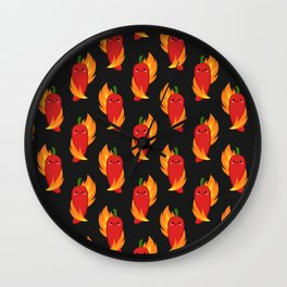 Red chili peppers and fire Wall Clock