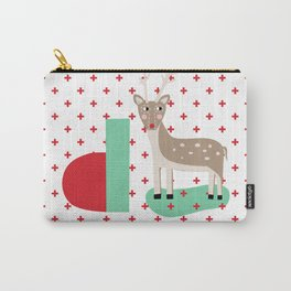 letter D - Deer - monogram - christmas - xmas - plus sign Carry-All Pouch