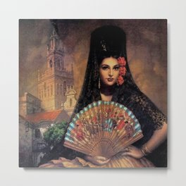 Woman of Mexico with fan portrait painting by Jesus Helguera Metal Print