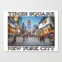 Times Square Sparkle (with typography) Canvas Print
