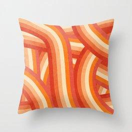 Red, Orange and Cream 70's Style Rainbow Stripes Throw Pillow