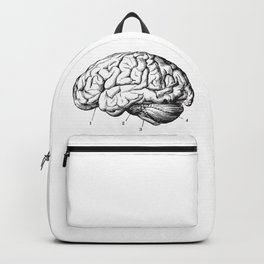 Human Brain Sideview Anatomy Detailed Illustration Backpack