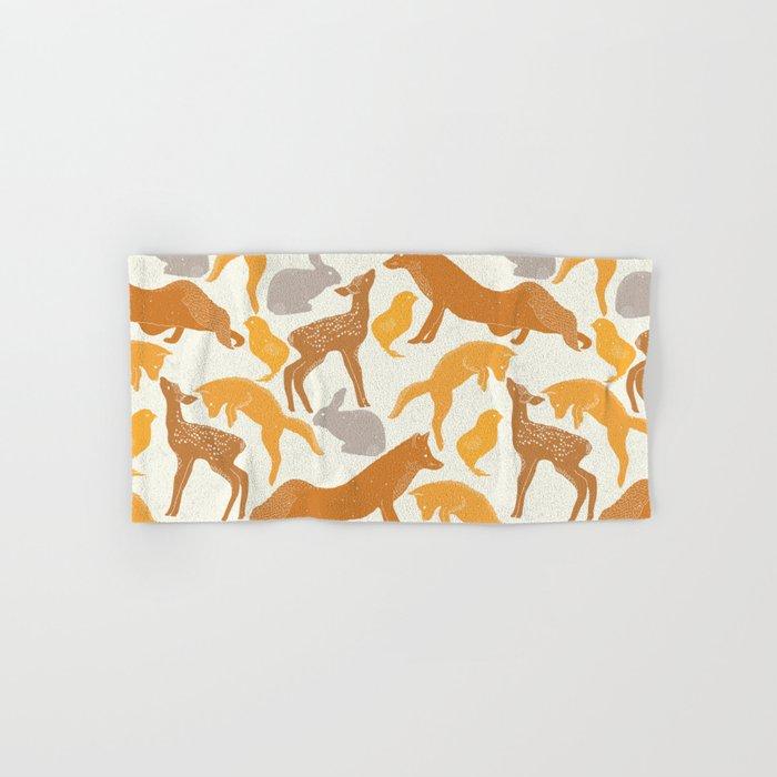 Deer Fox Rabbit Chick Playing Hand & Bath Towel