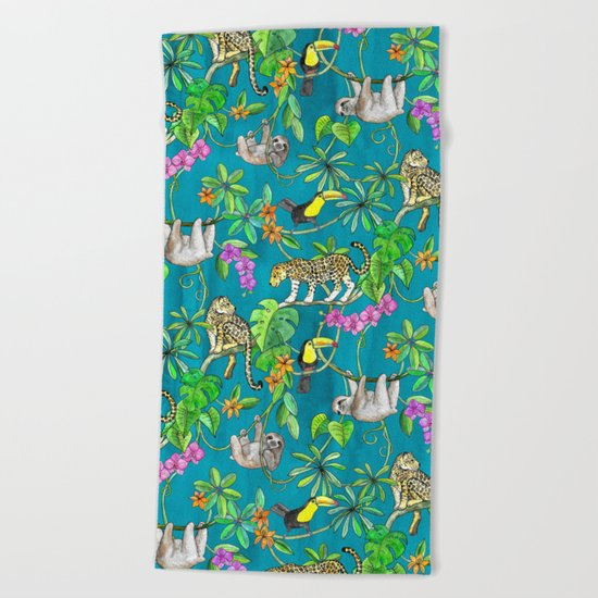 Rainforest Friends - watercolor animals on textured teal Beach Towel