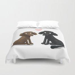 Cute Dog Illustration- Poodles Duvet Cover
