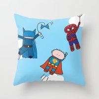 superheros Throw Pillows featuring Superheros by oekie