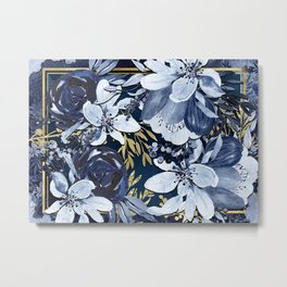 Navy Blue & Gold Watercolor Floral Metal Print