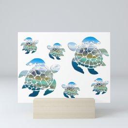 Turtle sea (mod 2) Mini Art Print