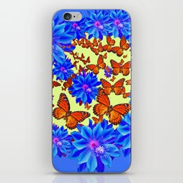 Orange Butterflies Blue  Floral Wreath art iPhone Skin