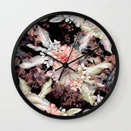 vintage designed flowers pattern and abstract painting Wall Clock
