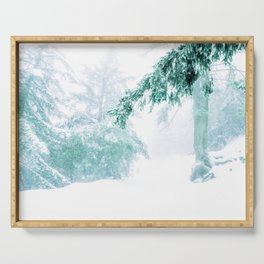 Emerald forest in blizzard and snow Serving Tray