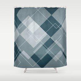 Overlapping Diamond Design in Aqua Shower Curtain