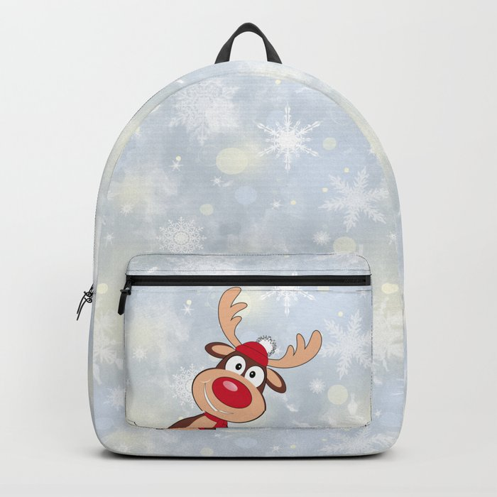 Funny muzzle of a deer. Backpack